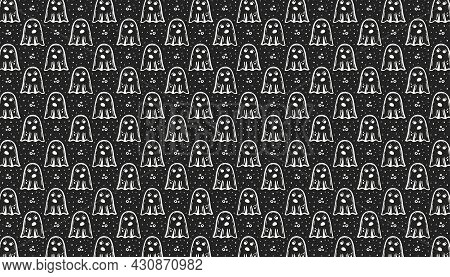 Halloween. Day Of Dead. Chalk Board Ink Vector Pattern, Texture, Background, Banner. Ghost. Paranorm