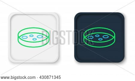 Line Petri Dish With Bacteria Icon Isolated On White Background. Colorful Outline Concept. Vector