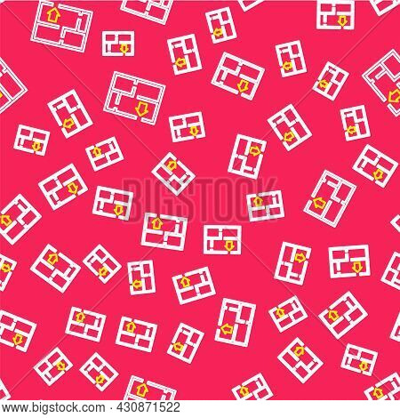Line Evacuation Plan Icon Isolated Seamless Pattern On Red Background. Fire Escape Plan. Vector