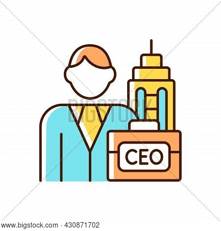 Chief Executive Rgb Color Icon. Ceo Of Corporation. Chief Executive Officer, Administrator. Boss Res