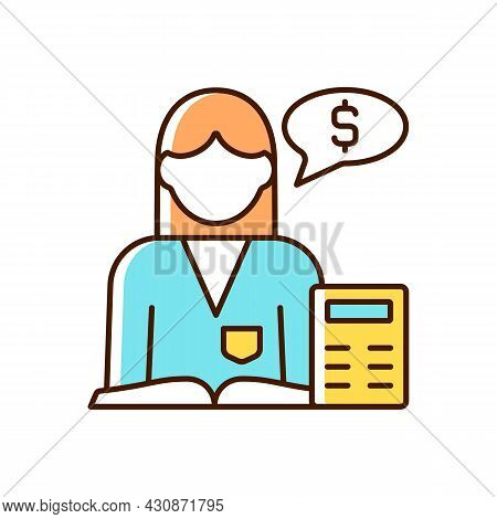 Accountant Rgb Color Icon. Financial Records. Accountitng And Analysis. Finance And Budget Managemen
