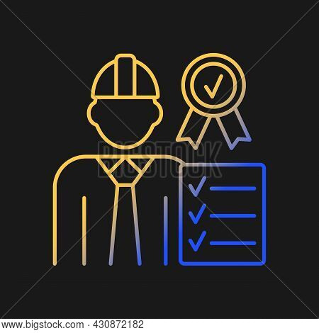 Quality Control Manager Gradient Vector Icon For Dark Theme. Production Inspector, Supervisor. High