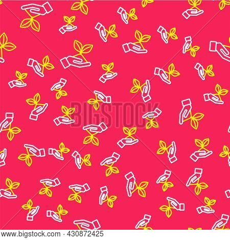 Line Plant In Hand Of Environmental Protection Icon Isolated Seamless Pattern On Red Background. See