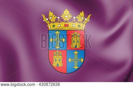 3d Flag Of Palencia City, Spain. 3d Illustration.