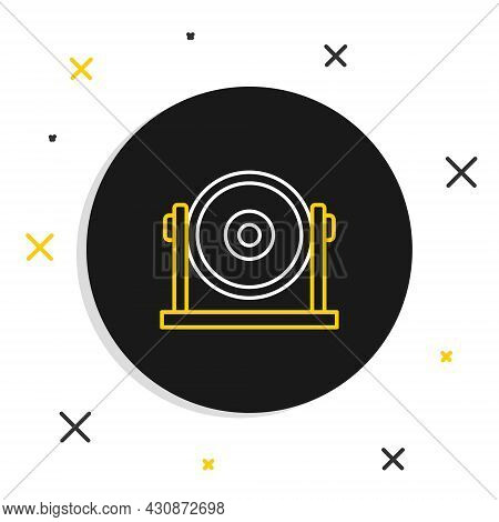 Line Gong Musical Percussion Instrument Circular Metal Disc Icon Isolated On White Background. Color