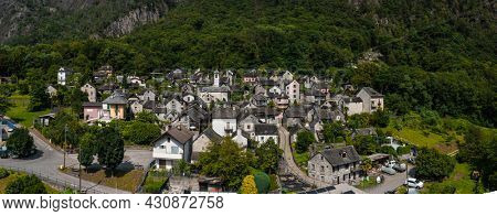 Top view of the village of Avegno in Ticino, Switzerland. Shooting with the drone. It is a beautiful summer landscape