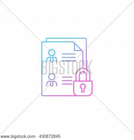 Employee Data Protection Gradient Linear Vector Icon. Safeguarding Personal Data In Workplace. Perso