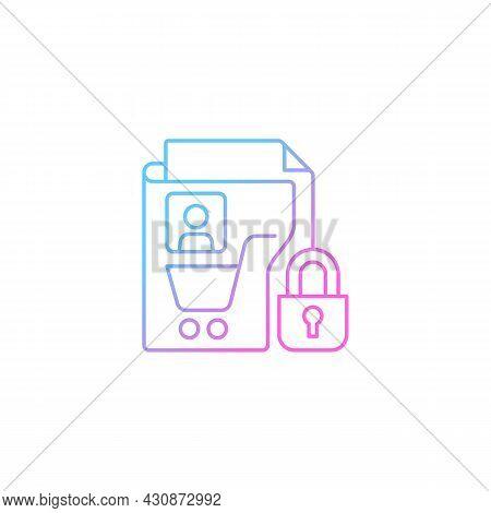 Consumer Data Privacy Gradient Linear Vector Icon. Safeguarding Buyers. Sensitive Info. Customer Pro