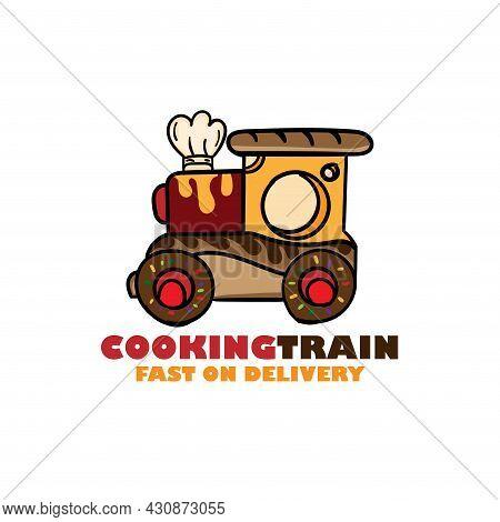Cooking Train Design Logo Vector. Cooking Train Illustration Vector
