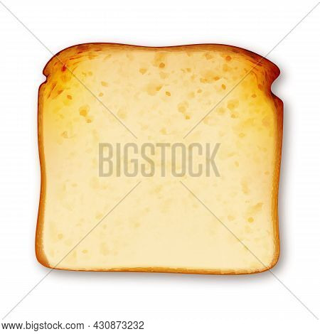 Toast Fried Bread In Toaster Electric Tool Vector. Crunchy Sliced Toast Delicious Fresh Fry Food, Mo