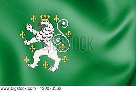 3d Flag Of Schleiden (north Rhine-westphalia), Germany. 3d Illustration.