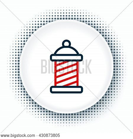 Line Classic Barber Shop Pole Icon Isolated On White Background. Barbershop Pole Symbol. Colorful Ou