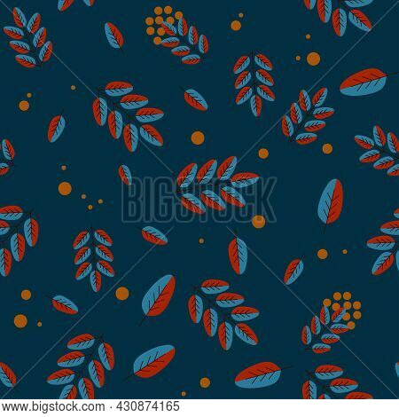 Autumn Background, Fall Leaves, Rowan Berries. Seamless Vector Background For Advertising, Sales In