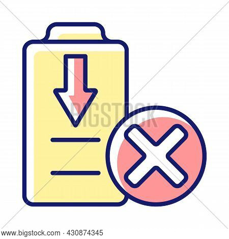Dont Fully Drain Batteries Rgb Color Manual Label Icon. Maintain Drone Battery Health. Permanent Dam