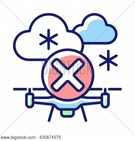 Dont Fly When Heavy Snow Rgb Color Manual Label Icon. Flying Drone Under Snowfall. Ice Accumulation