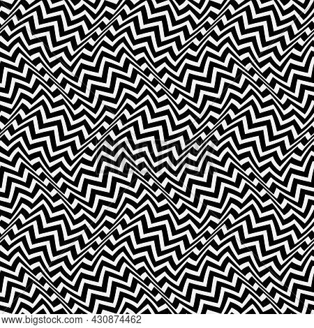 Optical Art Seamless Pattern. Moving Waves Of Zigzag Stripes Illusion. Black And White Distorted Str