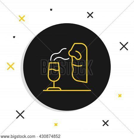 Line Sommelier Icon Isolated On White Background. Wine Tasting, Degustation. Smells Of Wine. Colorfu