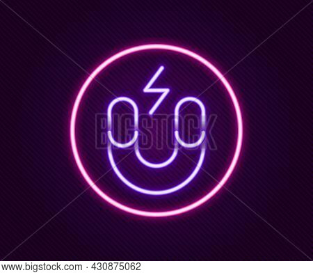 Glowing Neon Line Magnet Icon Isolated On Black Background. Horseshoe Magnet, Magnetism, Magnetize,