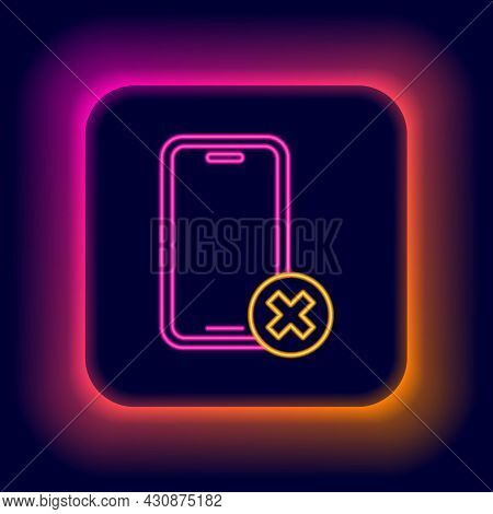 Glowing Neon Line No Cell Phone Icon Isolated On Black Background. No Talking And Calling Sign. Cell