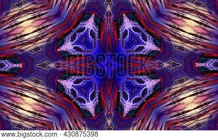 Purple Cross Kaleidoscope Background. Beautiful Multicolor Kaleidoscope Texture. Unique Kaleidoscope