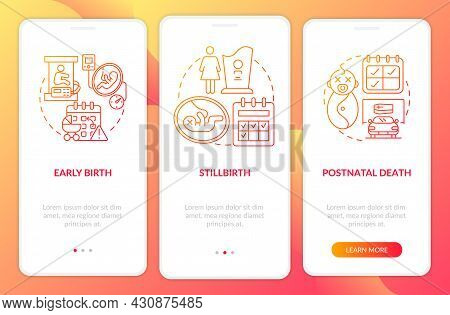 Maternity Leave Entitlement Cases Red Gradient Onboarding Mobile App Page Screen. Walkthrough 3 Step