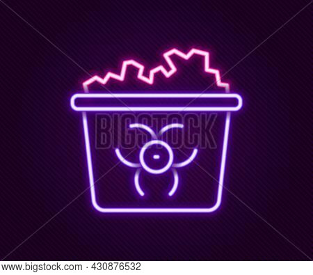 Glowing Neon Line Infectious Waste Icon Isolated On Black Background. Tank For Collecting Radioactiv