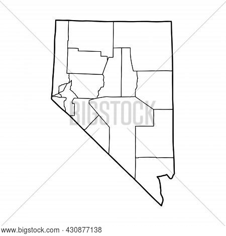 Outline Map Of Nevada White Background. Usa State,  Vector Map With Contour.