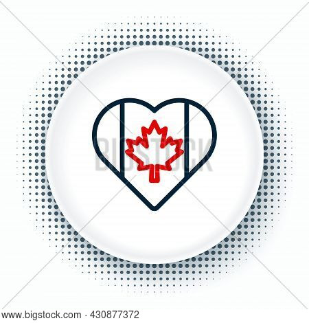 Line Heart Shaped Canada Flag Icon Isolated On White Background. Love Canada Symbol. Colorful Outlin