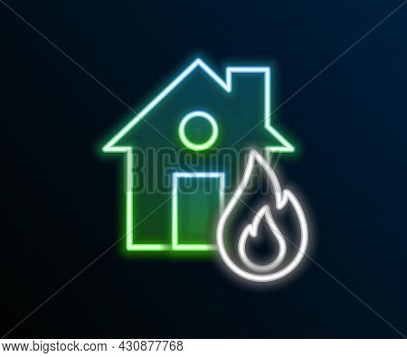 Glowing Neon Line Fire In Burning House Icon Isolated On Black Background. Colorful Outline Concept.