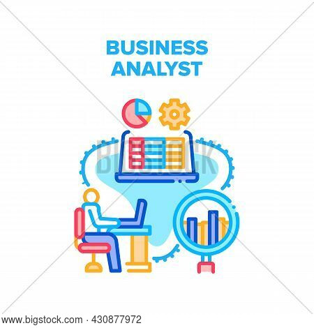 Business Analyst Vector Icon Concept. Business Analyst Monitoring And Analyzing Price On Trade Marke