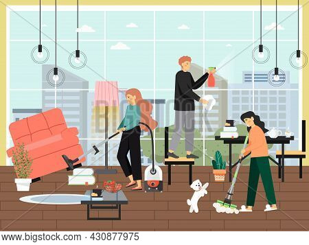 Home Cleaning Scene, Flat Vector Illustration. People Cleaning Hall, Washing Window, Vacuuming. Hous