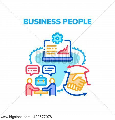Business People Vector Icon Concept. Business People Meeting For Discussion Partnership And Terms Of