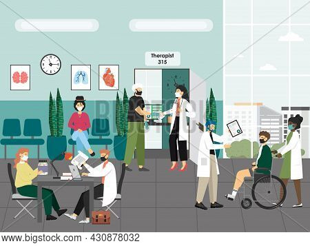 People In Hospital, Medical Clinic Hall, Flat Vector Illustration. Patients Waiting For Doctor, Talk