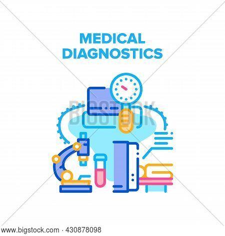 Medical Diagnostics Vector Icon Concept. Medical Diagnostics Professional Equipment For Patient Exam