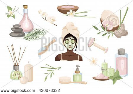 Beauty Routine And Skin Care Design Elements Set. Collection Of Woman In Cosmetic Mask At Spa, Aroma