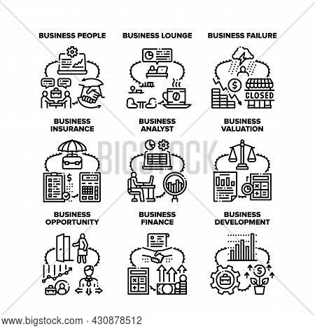 Business Analyst Set Icons Vector Illustrations. Business Analyst People And Lounge Zone, Failure An
