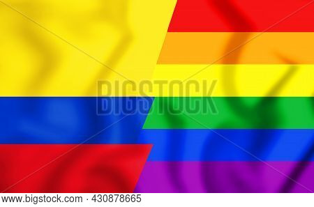 3d The Colombia Gay Flag. 3d Illustration.