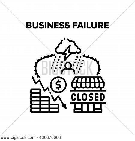 Business Failure Vector Icon Concept. Business Failure Company Problem, Falling Financial Income And
