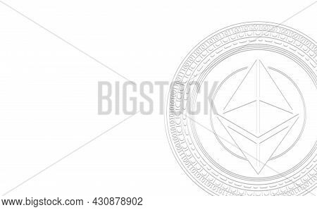 White Ethereum (eth) Logo. Virtual Digital Crypto Currency Sign On White Background. Investment Conc