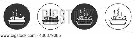 Black Served Fish On A Plate Icon Isolated On White Background. Circle Button. Vector