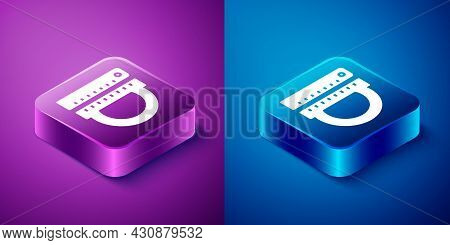 Isometric Protractor Grid For Measuring Degrees Icon Isolated On Blue And Purple Background. Tilt An