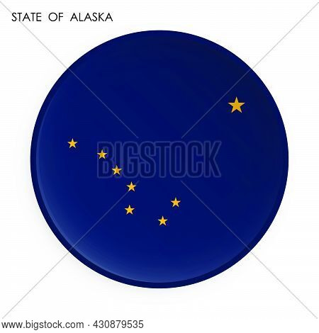 American State Of Alaska Flag Icon In Modern Neomorphism Style. Button For Mobile Application Or Web