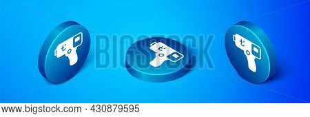 Isometric Digital Contactless Thermometer With Infrared Light Icon Isolated On Blue Background. Blue
