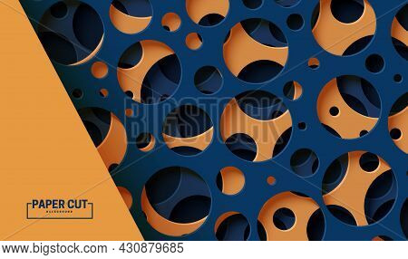 Abstract Background With Cut Out Circles Of Different Sizes In Paper Cut Style. Layered 3d Backdrop
