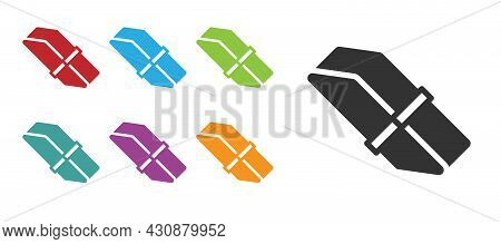 Black Eraser Or Rubber Icon Isolated On White Background. Set Icons Colorful. Vector