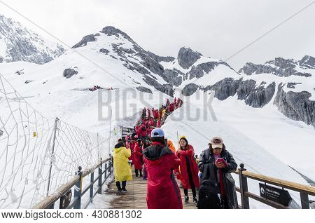 Yunnan,china - April 12,2017 : Landscape Of Yulong Snow Mountain, It Also Known As Jade Dragon Snow