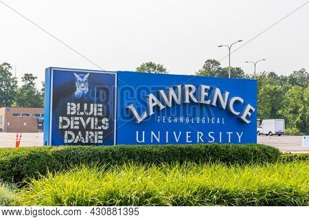 SOUTHFIELD, MI, USA - JULY 18, 2021: Sign board of Lawrence Technological university at the campus entrance.