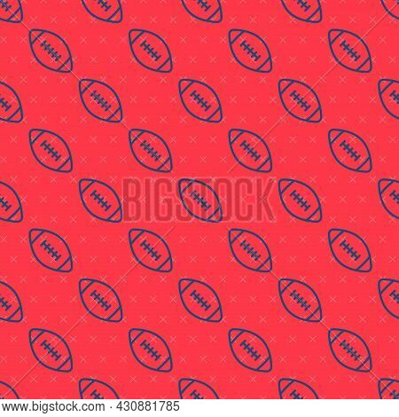 Blue Line American Football Ball Icon Isolated Seamless Pattern On Red Background. Rugby Ball Icon.