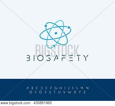 Atomic Energy Vector Logo Concept With Futuristic Letters. Atom Structure Nucleus Icon. Bio Safety S