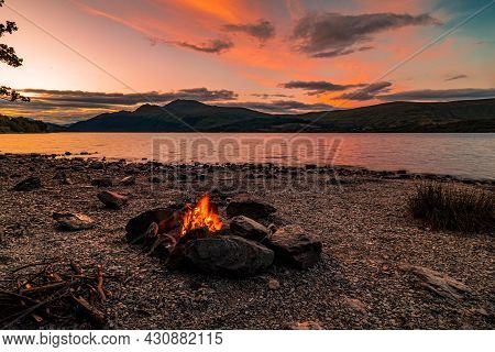 Fireplace At Sunset By A Lake In Loch Lomond, Scotland